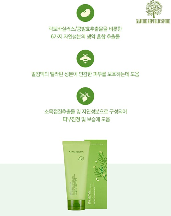 Sữa Rửa Mặt Chiết Xuất Nọc Ong Nature Republic Bee Venom Cleansing Foam good
