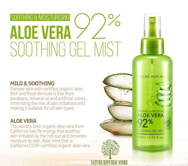 Xịt khoáng Nature Republic Soothing & Moisture Aloe Vera 92% Soothing Gel Mist Best