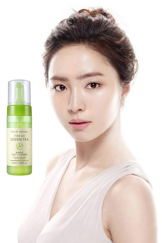 Sữa Rửa Mặt Trà Xanh Nature Republic Fresh Green Tea Bubble Deep Cleanser 1